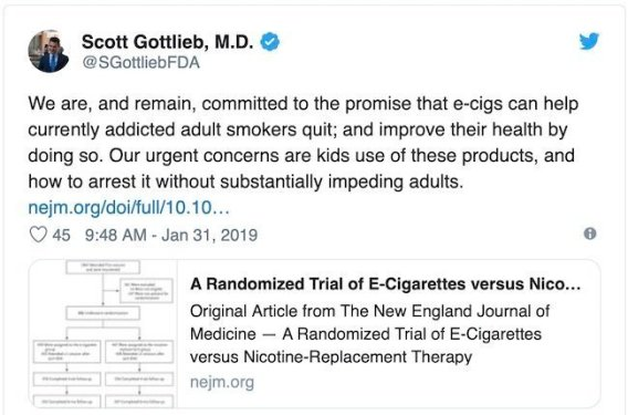 Dr. Scott Gottlieb tweet on ecig benefits