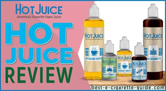 Hot Juice eliquid and CBD eliquid Review title image showing 5 flavors
