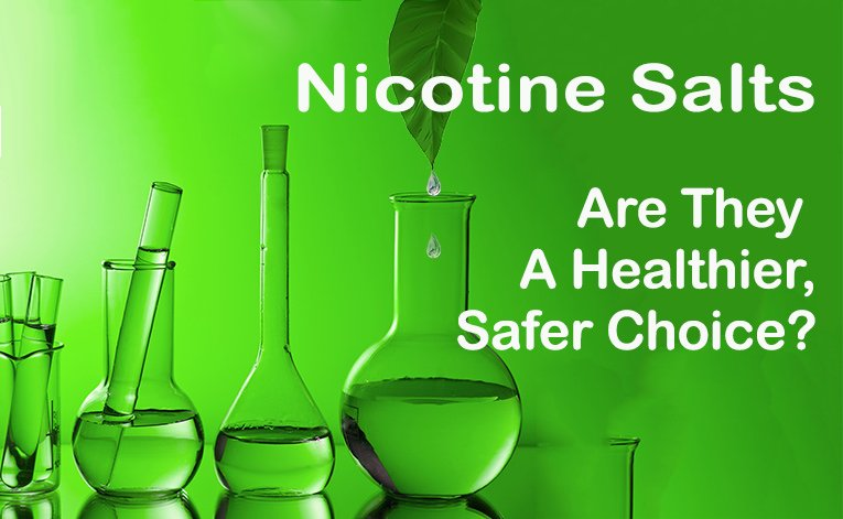 Nicotine Salts- Are They a Healthier, Safer Choice? - post title image 765x471 - leaf and 4 vials