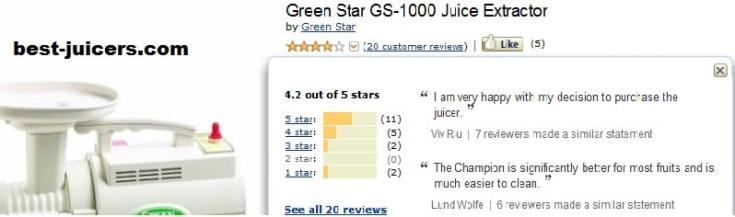 greenstar gs 100 reviews from amazon customers
