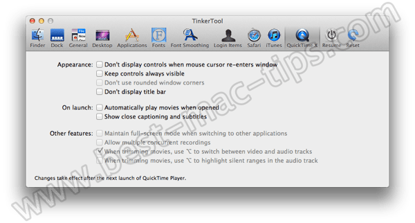 TinkerTool quicktime