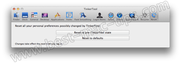 TinkerTool reset