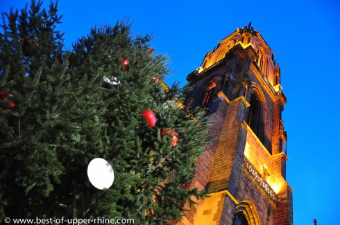Christmas fir at the Saint Georges church in Selestat. The fir is decorated as it was back in the Middle Ages, with apples and hosts.