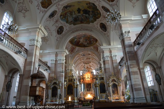 Interior of Abbey church of Ebersmunster