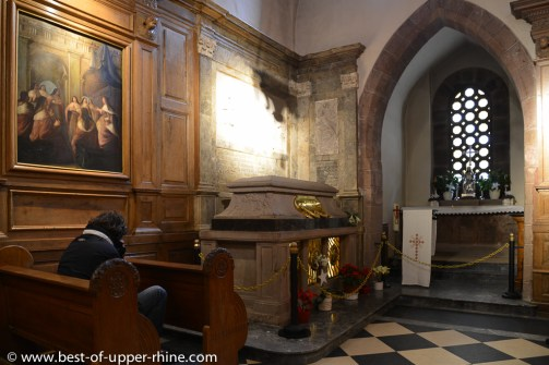 The tomb of St. Odile is a highly revered shrine in Alsace.