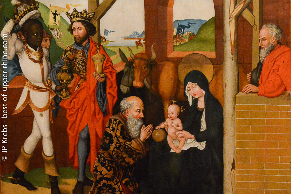 Adoration of the Magi. Part of medieval paintings by Martin Schongauer and companions.
