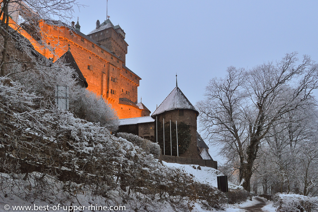 The Haut-Koenigsbourg castle overlooking the plain of the Rhine in Alsace.