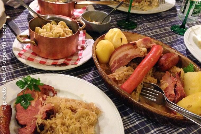 Enjoy the famous choucroute (Sauerkraut) in a winstub.