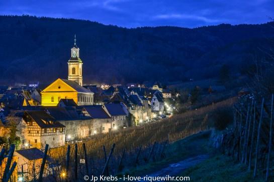 Riquewihr in Winter seen from the Schoenenbourg vineyards.