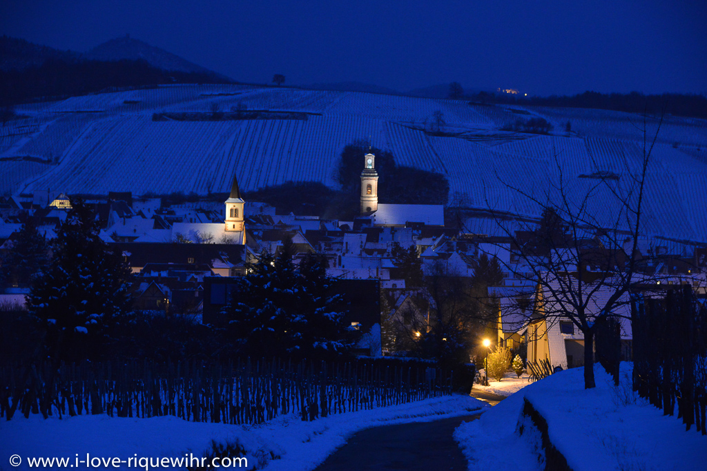 Riquewihr in Winter after snow fall