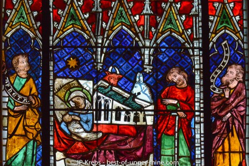 Nativity - medieval stained glass. Cathedral of Strasbourg.