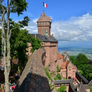 Castle Haut-Koenigsbourg overlooking Alsace and the plain of the Rhine river.