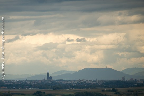 Silhouette of the Cathedral of Strasbourg seen from Obernai, some 30 kilometers afar.