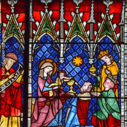 Detail of medieval stained-glass window. Cathedral of Strasbourg.