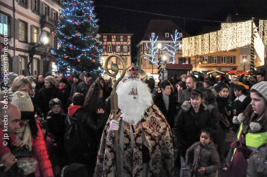 Saint Nicholas opens the Christmas market in Sélestat, Alsace.