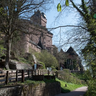 Mid-April at the entrance of castle Haut-Koenigsbourg. A must see medieval forteress in Alsace.