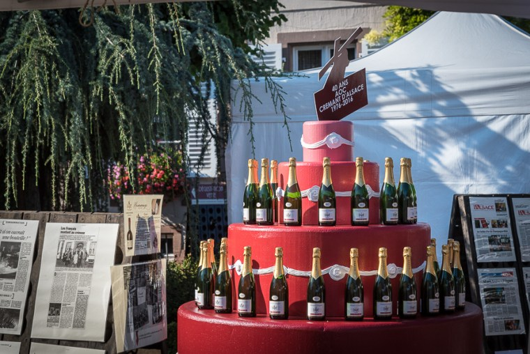 Birthday cake for the 40 years of appellation Crémant d'Alsace : 40 bottles of the cuvée Julien Dopff symbolizing the 40 candles …