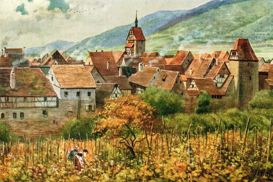 Working in the Schoenenbourg vineyard in the early 1900s