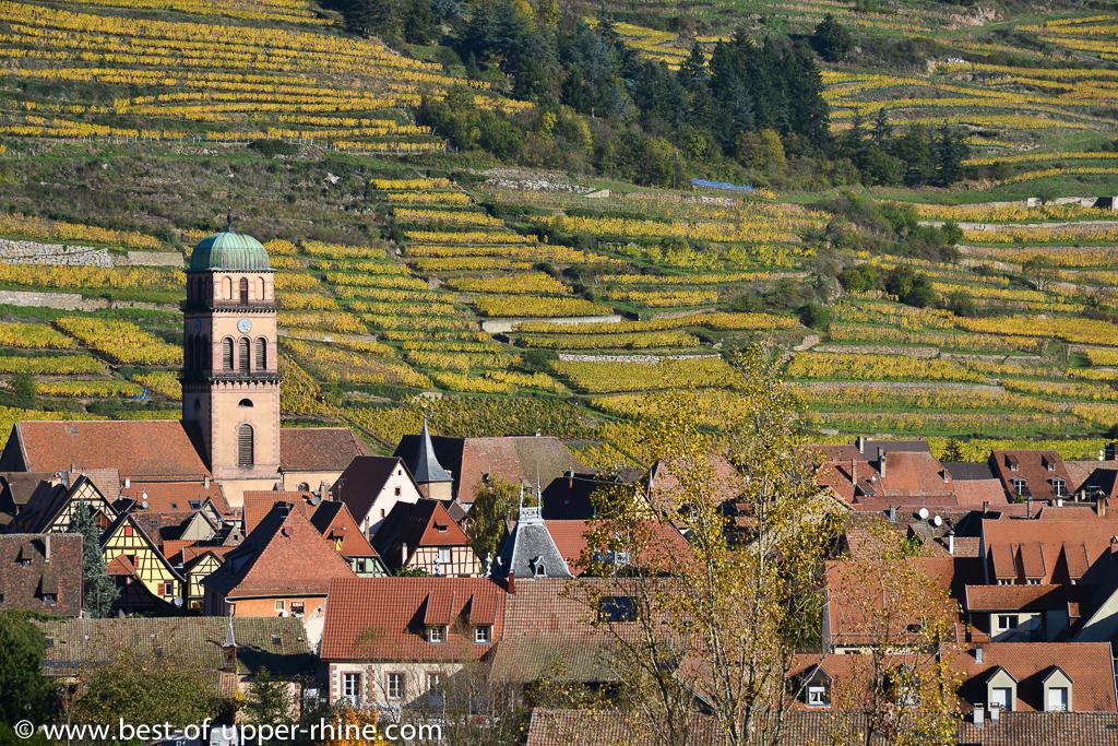Kaysersberg, a few kilometers from Riquewihr and its terraced vineyards.
