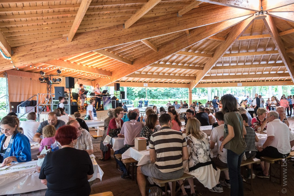 The large wooden marquee of the town garden of Ribeauvillé allows you to feast on music!