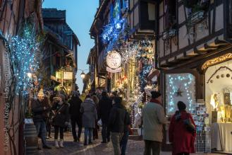 One of the romantic little streets of Riquewihr at Christmas time