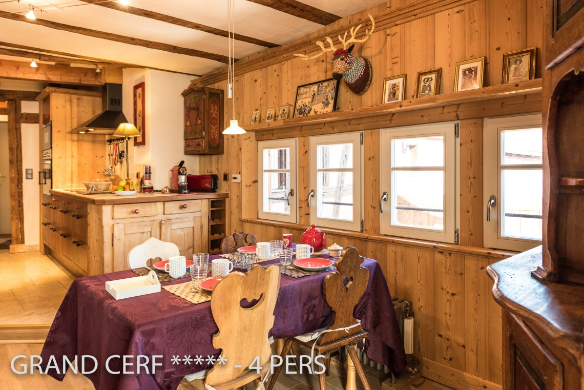 The kitchen and the dining place of the Alsatian Hart, Outstanding Luxury Gite in Riquewihr in Alsace on the Alsace Wine Route!