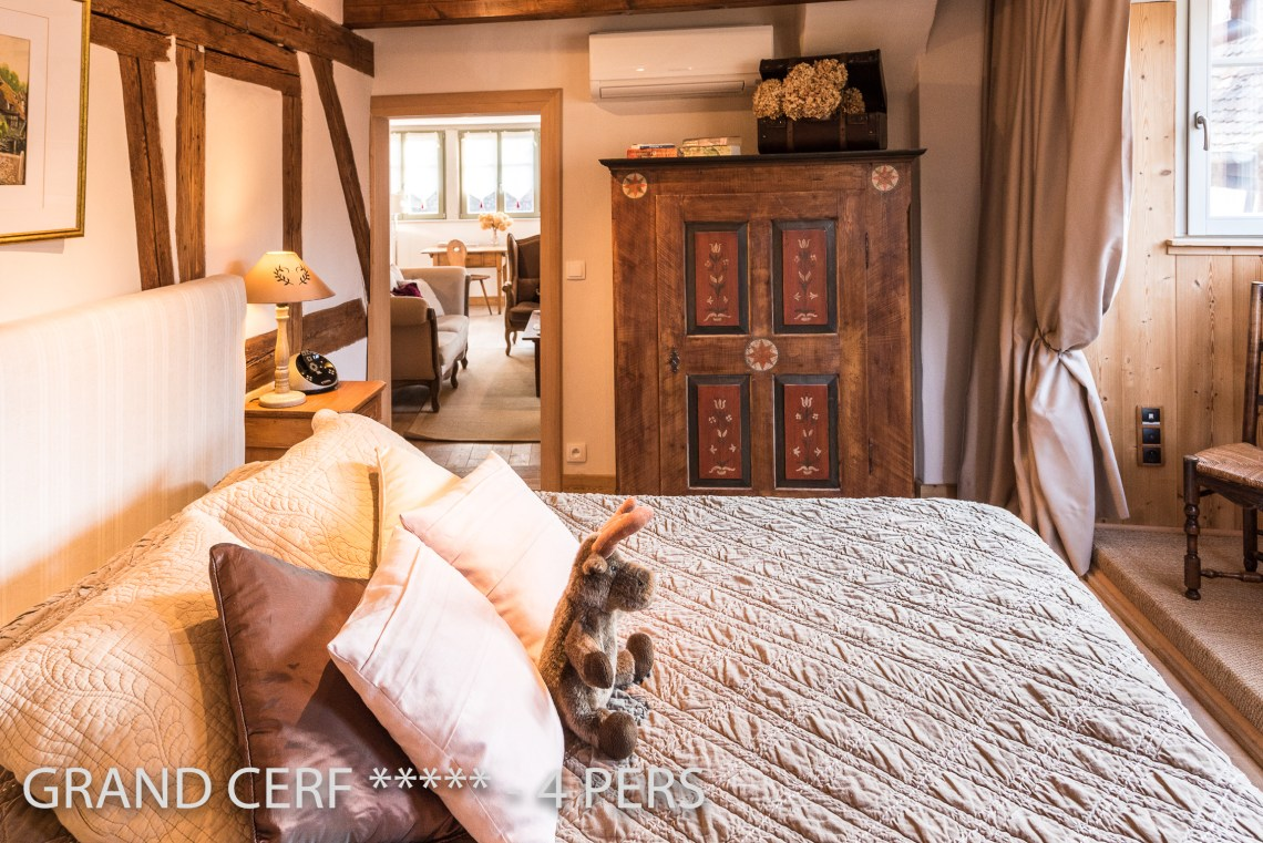 The bedroom of the Alsatian Hart, Outstanding Luxury Gite in Riquewihr in Alsace on the Alsace Wine Route!