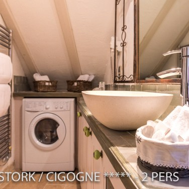 The bathroom of the White Stork, spectacular and romantic loft apartment with terrace in Riquewihr in Alsace on the Alsace Wine Route!