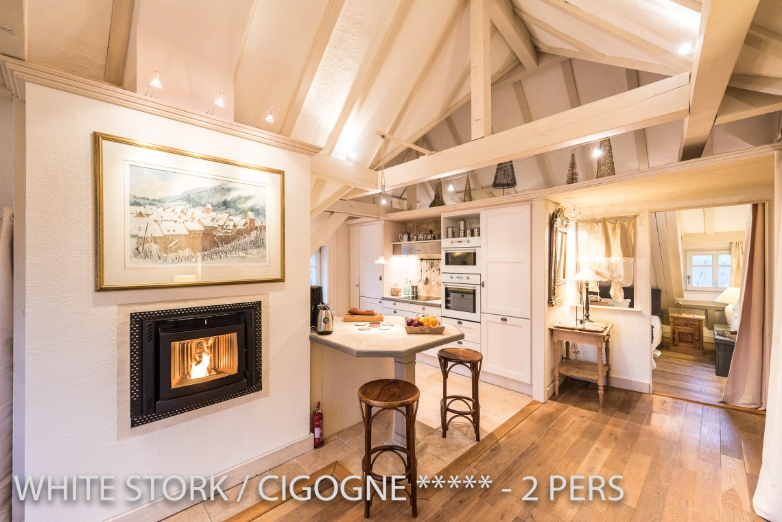 The fire place is in the middle of the White Stork, spectacular and romantic loft apartment with terrace in Riquewihr in Alsace on the Alsace Wine Route!