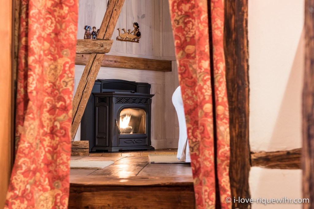 The fire place in the Dove's Nest in Riquewihr, one of the most beautiful places available for holiday rental in Alsace on the Alsace Wine Route!