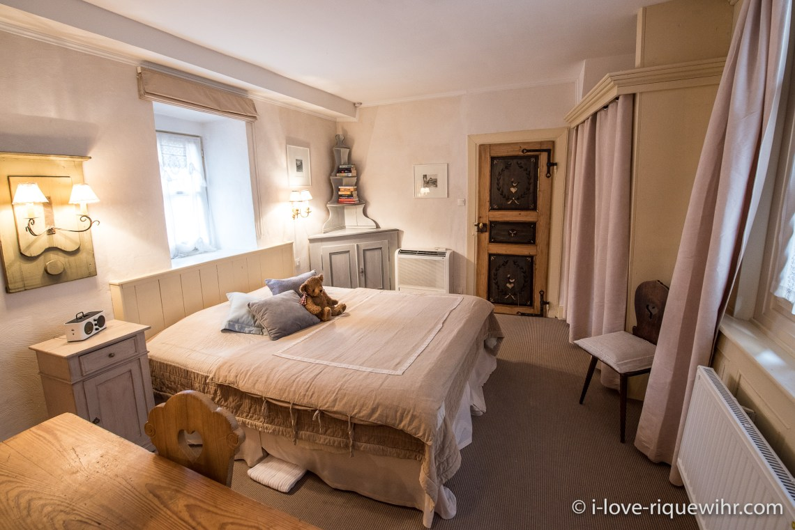 The Bedroom of the Dove's Nest in Riquewihr, one of the most beautiful, charming and comfortable places available for holiday rental in Alsace on the Alsace Wine Route!