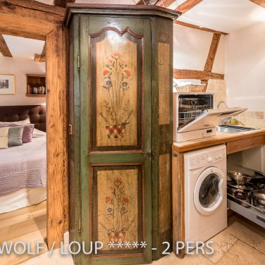 The entrance of the The Little Wolf, lovely apartment in Riquewihr in Alsace for 2 persons just near the Schœnenbourg vineyard