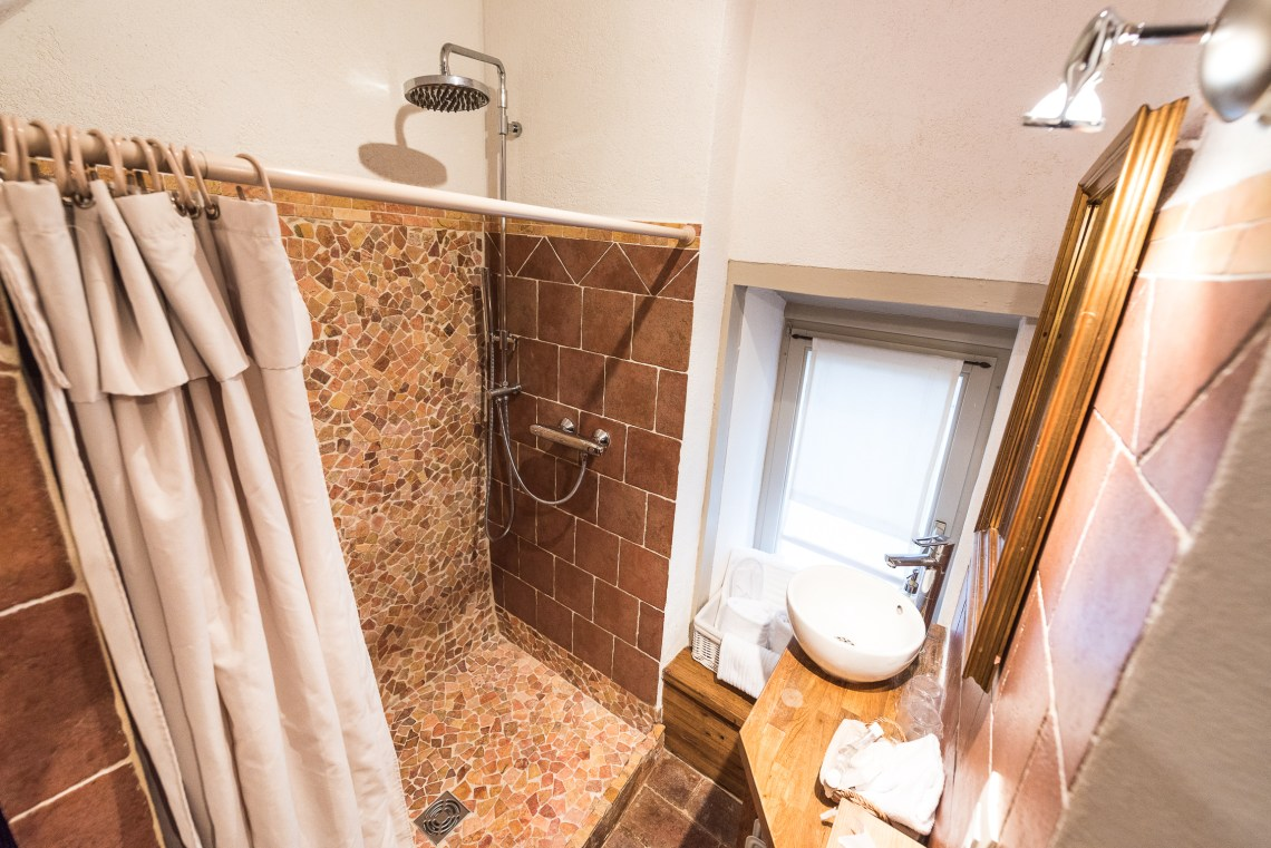 The bathroom of The Gobelin's romantic Studio, charming studio with great comfort and Large double bed in Riquewihr for 2 persons