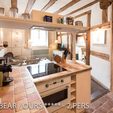 The kitchen of the Little Bear, romantic and charming apartment for 2 adults in Riquewihr in Alsace