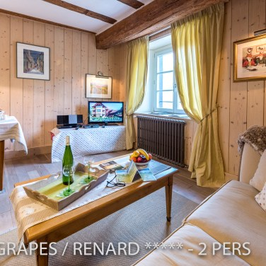 The living room of the Fox & Grapes, romantic and charming apartment for 2 adults is located in the medieval heart of Riquewihr in Alsace