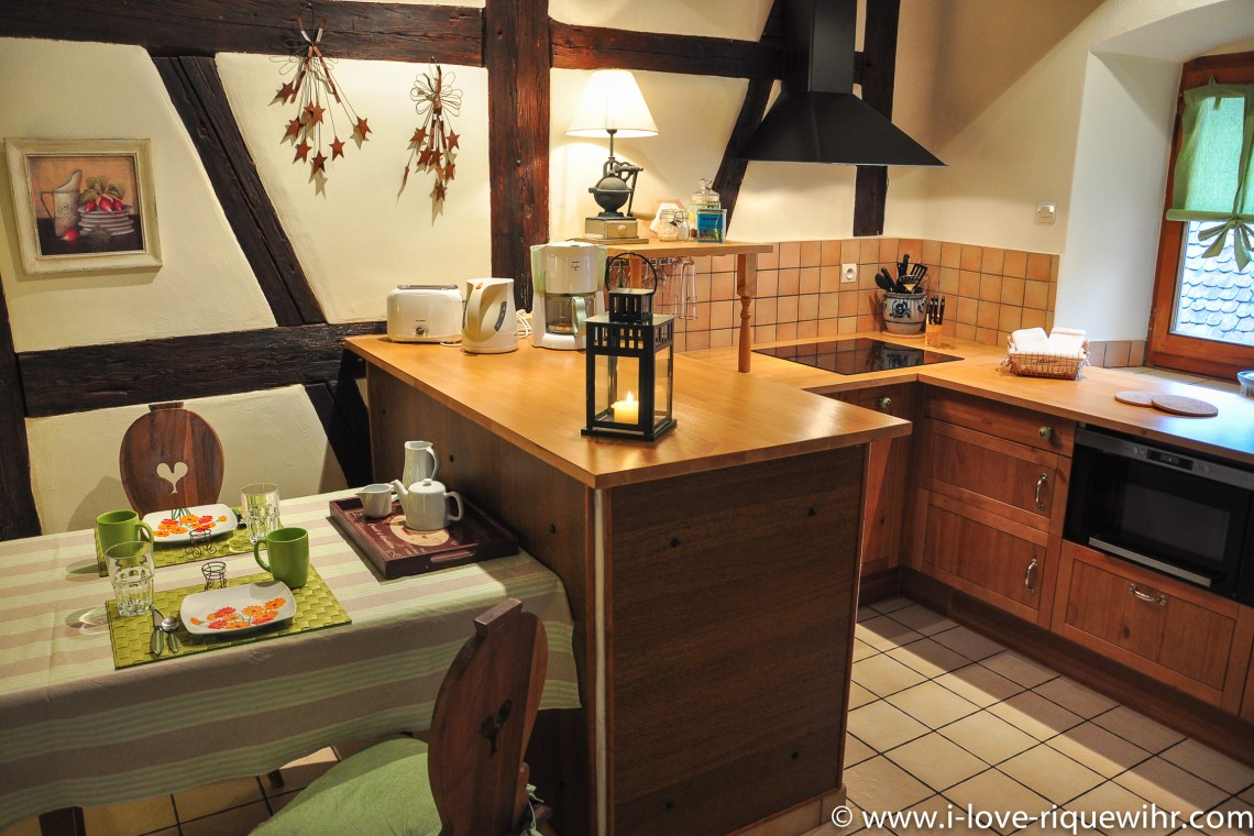The Dining room of Sylvaner, charming holiday apartment for 2 persons in Riquewihr Alsace in the Winemaker's house