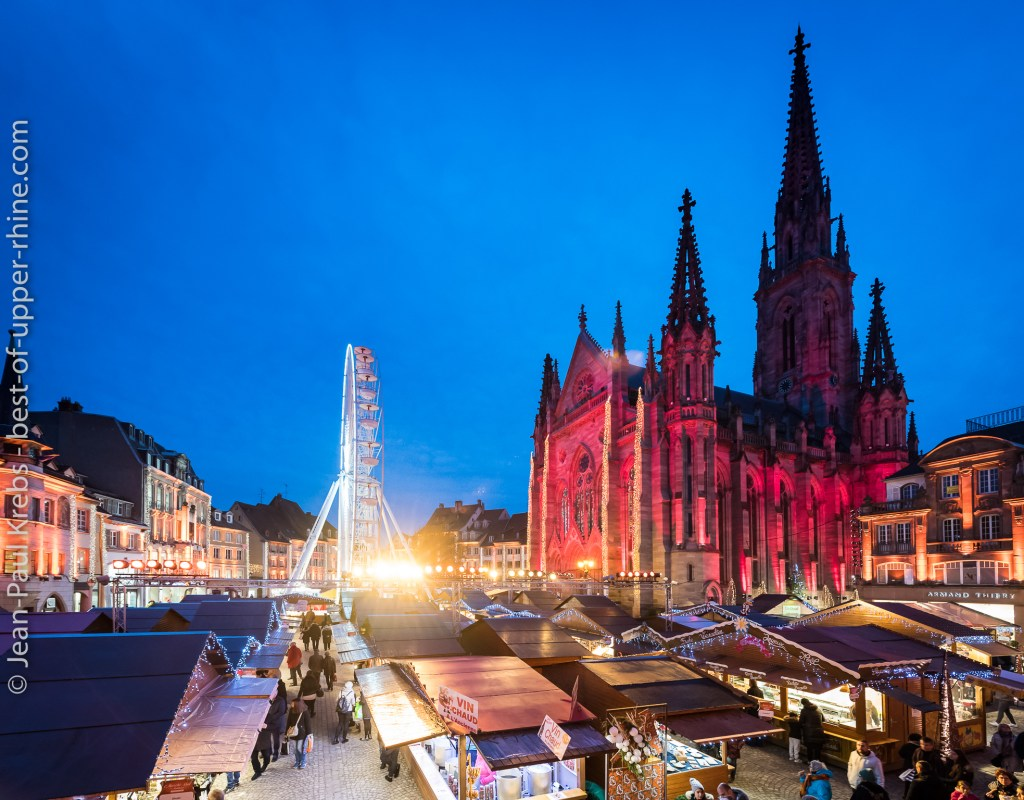 Christmas Market in Mulhouse at the nightfall