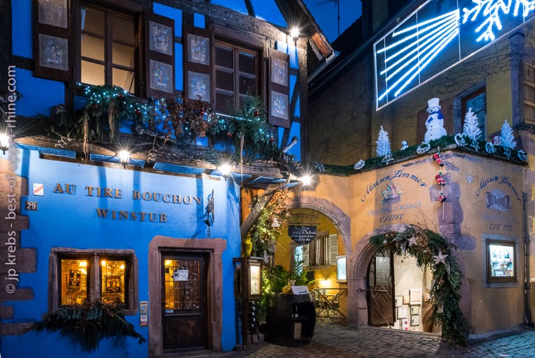 Winstub Au Tire-Bouchon (At the Corkscrew) and historic winery of the Zimmer House in Riquewihr