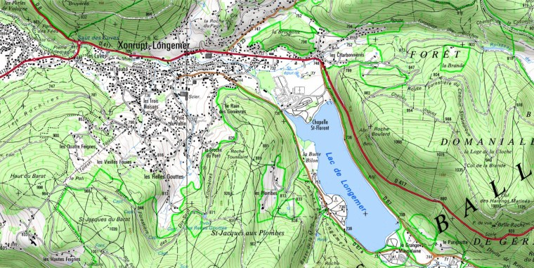 Surroundings of Lake Longemer. Extract map IGN.