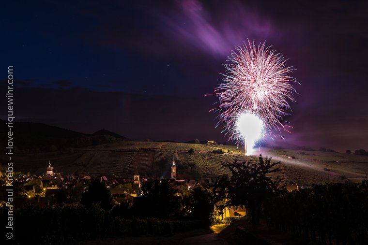 Fireworks in Riquewihr for the 14th July ! on the Grand Cru Schoenenbourg