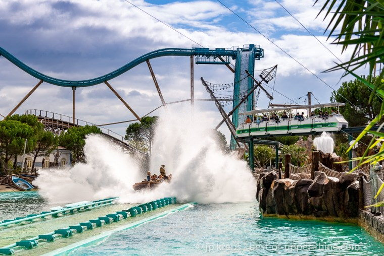 Europa-Park during summer, enjoy several water roller coaster.
