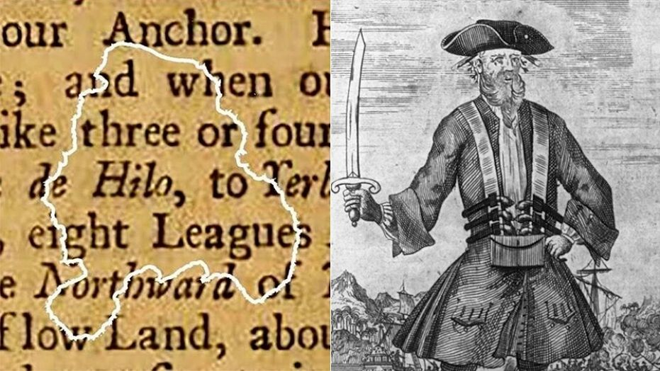 A paper fragment recovered from the wreck of Blackbeard's flagship, the Queen Anne's Revenge (North Carolina Department of Natural and Cultural Resources)/Illustration of Blackbeard (Library of Congress)