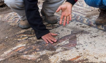 1518225828 rare roman mosaic featuring toga wearing figures discovered in israel - Rare Roman mosaic, featuring toga-wearing figures, discovered in Israel
