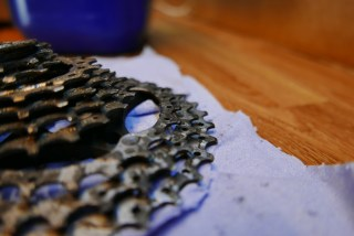 cycle cassette and gears before ultrasonic cleaning