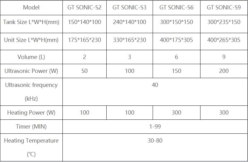 touch screen ultrasonic cleaner specification chart