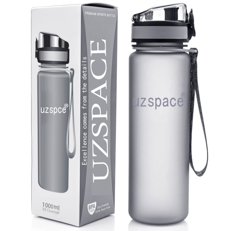 Maigg water bottle for gym up against box, the Maigg water bottle is the best water bottle.