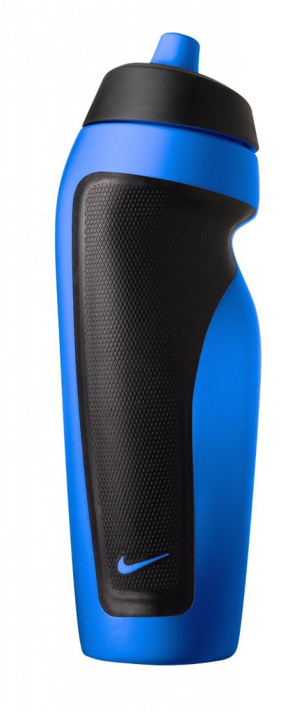 Nike sports bottle, is the best classic water bottle. The bottles is blue, and it has black sides.