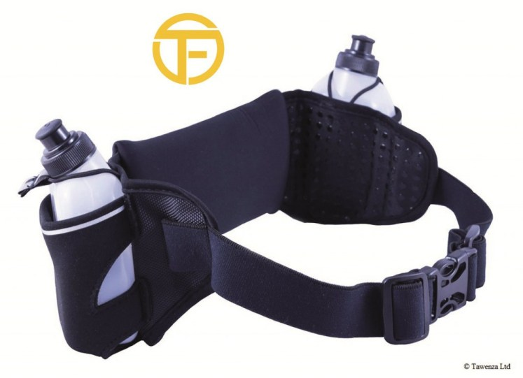 A running belt is the best running water bottle for the hardcore sportsman, the belt is black and can carry two bottles one on each side.