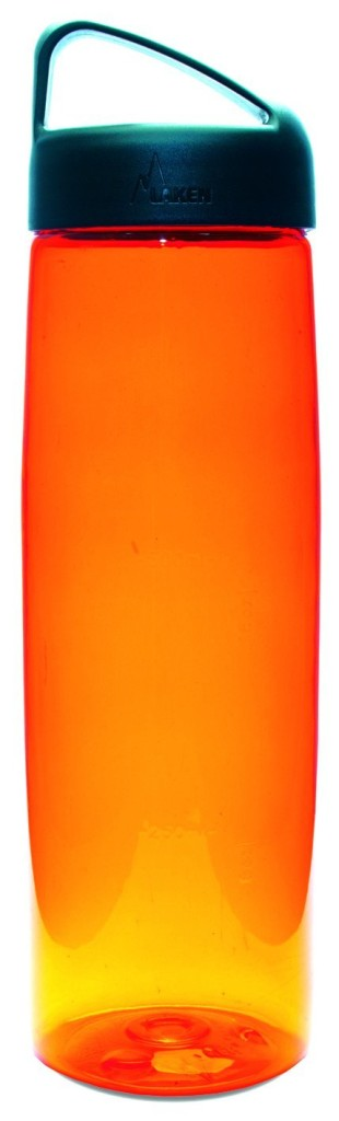 an orange water bottle standing up right