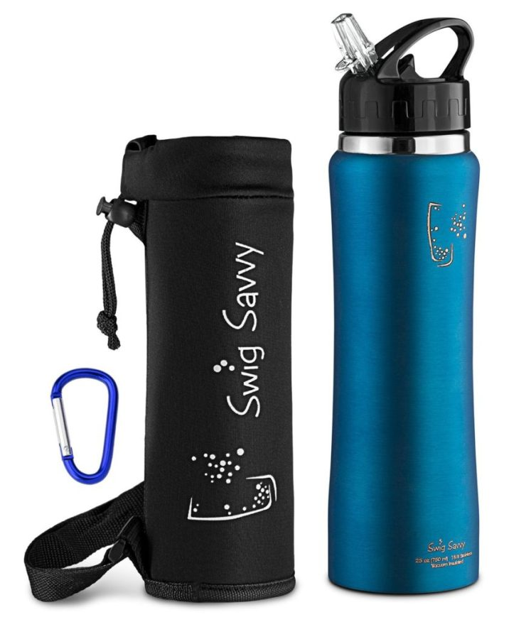 Swigg Savvy water bottle with the case.